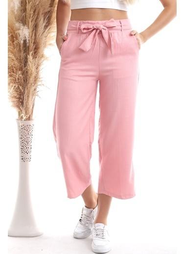 Cottonmood 20343112 Viskon Flamlı Kuşaklı Bol Paça Pantolon Bısküvı Kırmızı